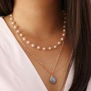 3/$20 New Gold Pearl Blue Iridescent Stone Necklac
